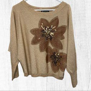 I.N.C Gold Sparkle Dolman Sleeves Floral S…